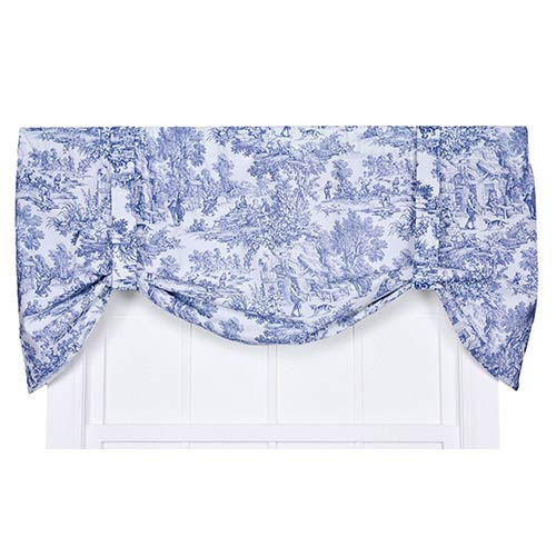 Victoria Park Blue 60 x 24-Inch Tie-Up Valance