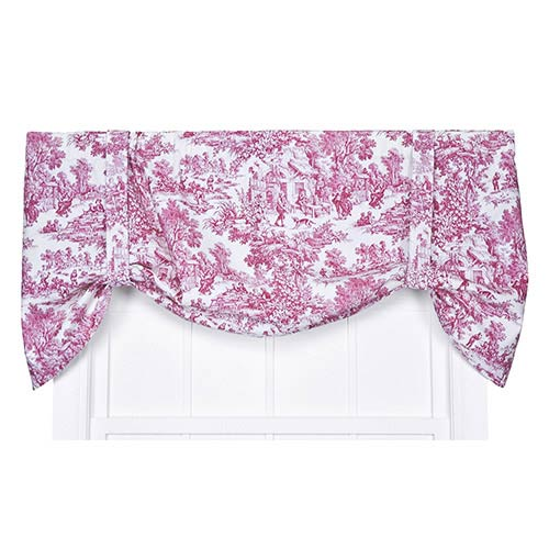 Ellis Curtain Victoria Park Red 60 x 24-Inch Tie-Up Valance