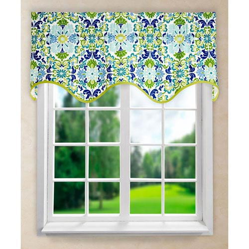 Folk Damask Seaspray 15 x 50-Inch Wave Valance
