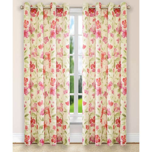 Arden Pink 63 x 50-Inch Lined Grommet Curtain Single Panel