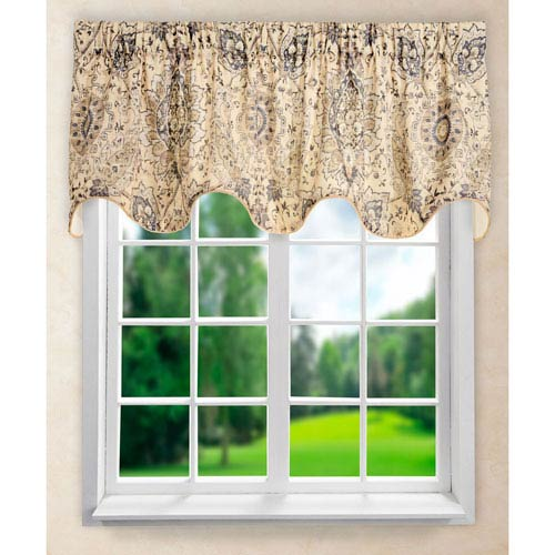 Cadogen Grey 17 x 70-Inch Lined Scallop Valance