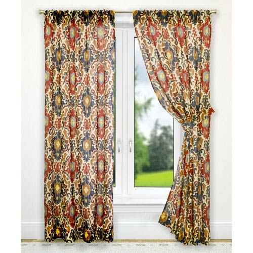 Ellis Curtain Tuscany Red 70 X 63 Inch Tailored Panel Pair With Tiebacks