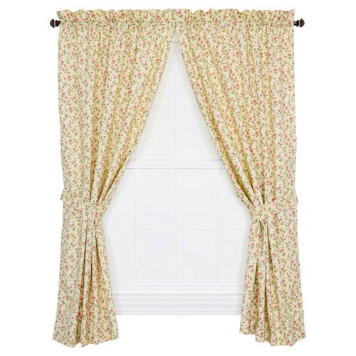 Marcia Green Floral Vine 63 x 68-Inch Tailored Curtain Panel Pair with Tiebacks