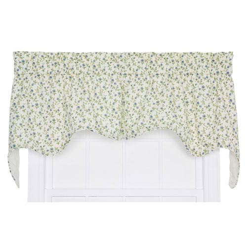 Marcia Blue Floral Vine 28 x 70-Inch Empress Two-Piece Lined Swag Valance