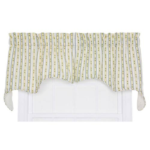 Cynthia Blue Floral Stripe 28 x 70-Inch Empress Two-Piece Lined Swag Valance