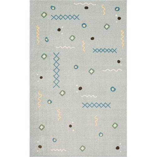 Tolani Gray Light Blue Abstract Rectangular: 8 Ft. x 10 Ft. Area Rug