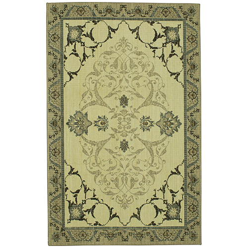Vintage Tapis Chateau Gray Beige Rectangular: 2 Ft. x 3 Ft. Rug