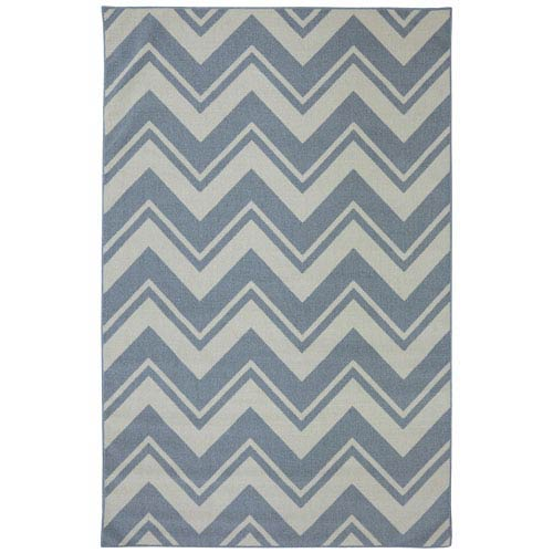 Mohawk Home Pool Zig Zag Blue Rectangular: 5 Ft. x 8 Ft. Rug