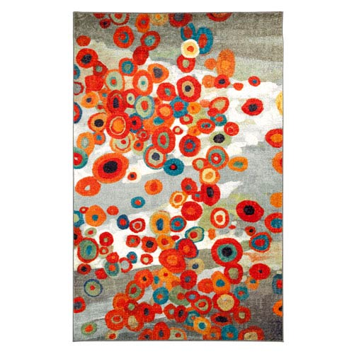 Tossed Floral Multi-Colored Rectangular: 5 Ft. x 8 Ft. Rug