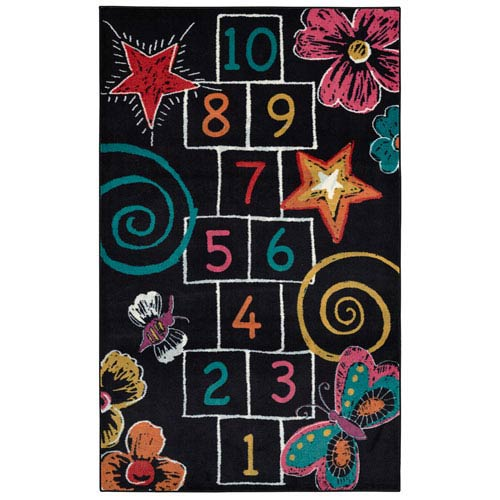 Aurora Black Hopscotch Chalk: Rectangular 5 Ft x 8 Ft Rug