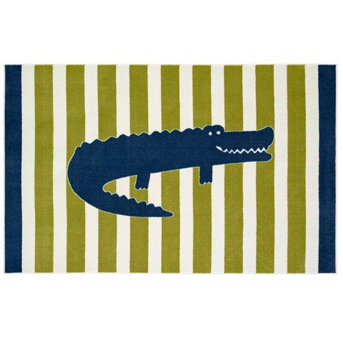 Aurora Multicolor Friendly Alligator Rectangular: 5 Ft x 8 Ft Rug