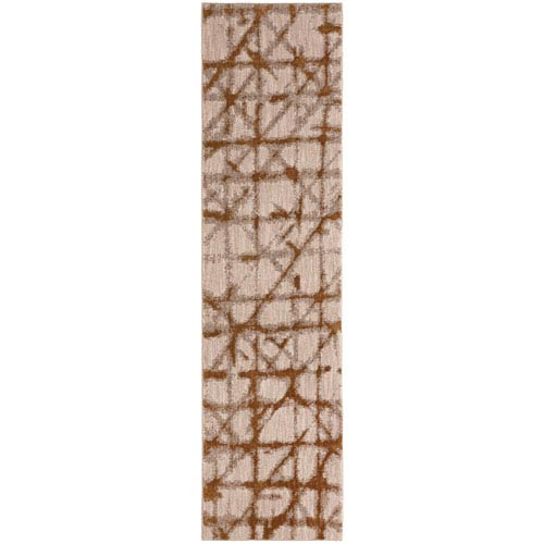 Enigma Contact Brushed Gold Runner: 2 Ft. 4 In. x 7 Ft. 10 In. Rug