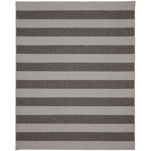Karastan Portico Riviera Stripe Silver Rectangular: 5 Ft. 3 In. x 7 Ft. 10 In. Indoor/Outdoor Rug