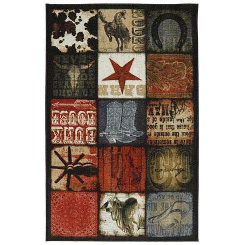 American Rug Craftsmen Escape Cowboy Patches Multicolor Rectangular: 5 Ft x 8 Ft Rug