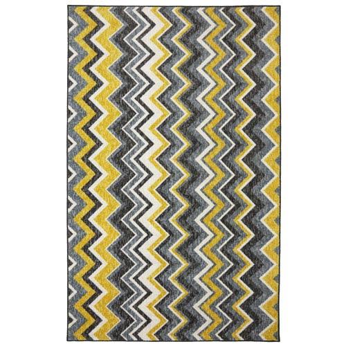 Contemporary Yellow Rectangular: 5 Ft. x 8 Ft. Rug Rug