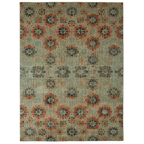Contemporary Geometric Taupe and Aquamarine Rectangular: 5 Ft. 3 In. x 7 Ft. 10 In. Rug