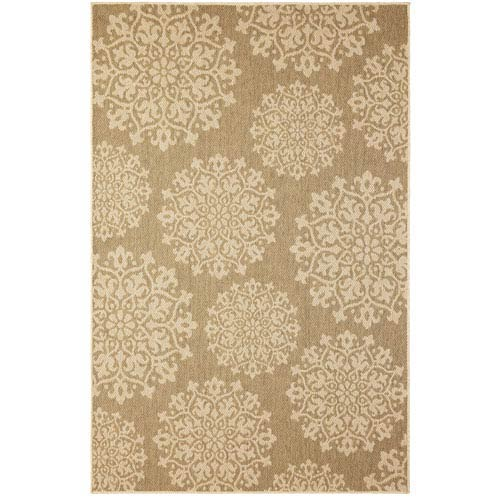 Contemporary Ornamental Natural Rectangular: 5 Ft. 3 In. x 7 Ft. 6 In. Rug