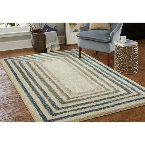 Casual Geometric Beige Rectangular: 3 Ft. 5 In. x 5 Ft. 2 In.