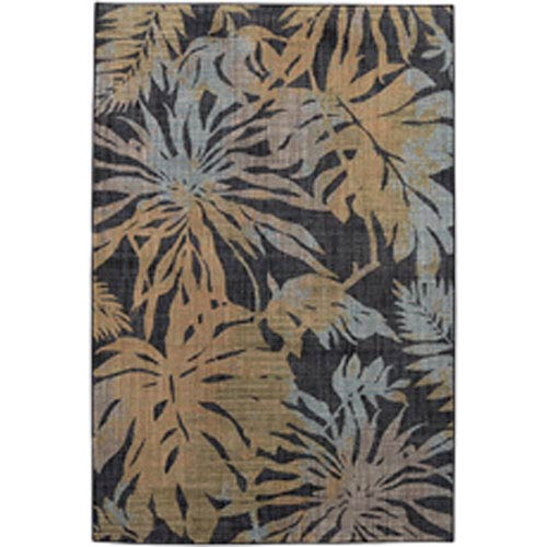 Transitional Floral Onyx Rectangular: 5 Ft. 3 In. x 7 Ft. 10 In.