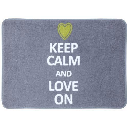 Mohawk Home Keep Calm Love On Gray Rectangular: 1 Ft 5 In x 2 Ft Bath Mat