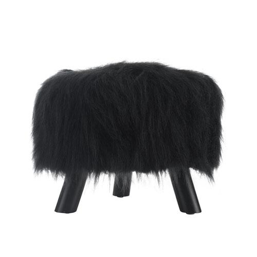 Black Faux Fur Foot Stool