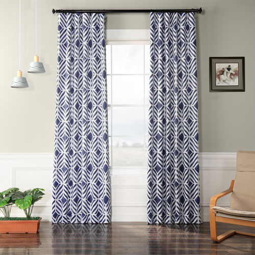 Geometric Blue 108 x 50 In. Blackout Curtain Single Panel