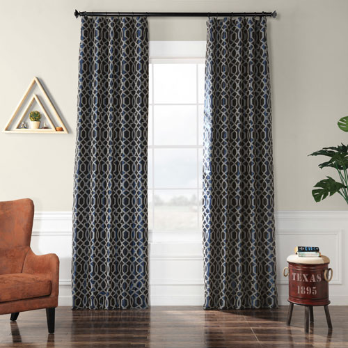 Busy Trellis Deep Blue and Silver 96 x 50 In. Flocked Faux Silk Curtain Single Panel