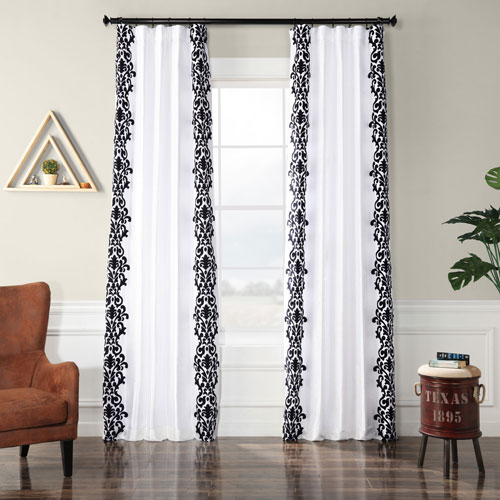 Royal White and Black 120 x 50 In. Flocked Faux Silk Curtain Single Panel