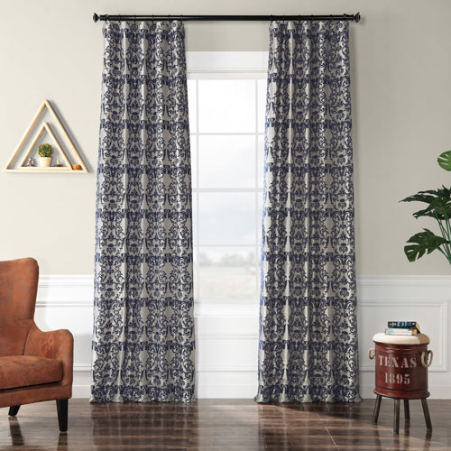 Damask Silver and Blue 96 x 50 In. Flocked Faux Silk Curtain Single Panel
