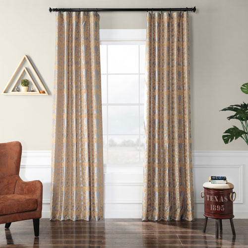 Damask Silver and Gold 84 x 50 In. Flocked Faux Silk Curtain Single Panel