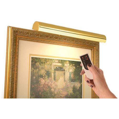 Polished Brass 18-Inch Cordless LED Remote Control Picture Light