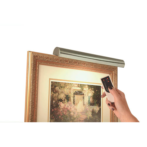 Antique Brass with Silver Undertones 18-Inch Cordless LED Remote Control Picture Light