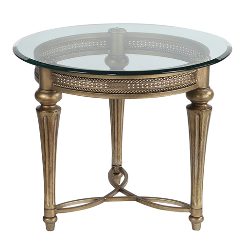 Galloway Glass Round End Table w/ Glass Top