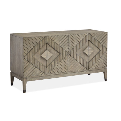 Brown Wood Four-Door Console Table