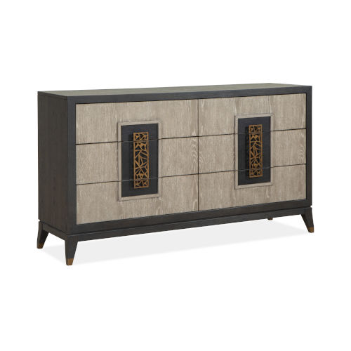 Ryker Nocturn Black and Coventry Gray Double Drawer Dresser
