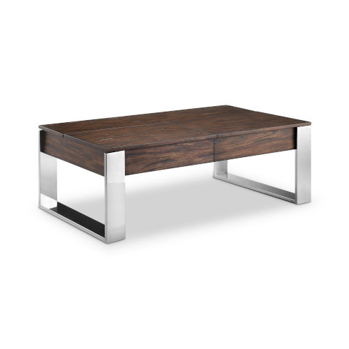 Duvall Chadwick Mocha And Stainless Steel Cocktail Table