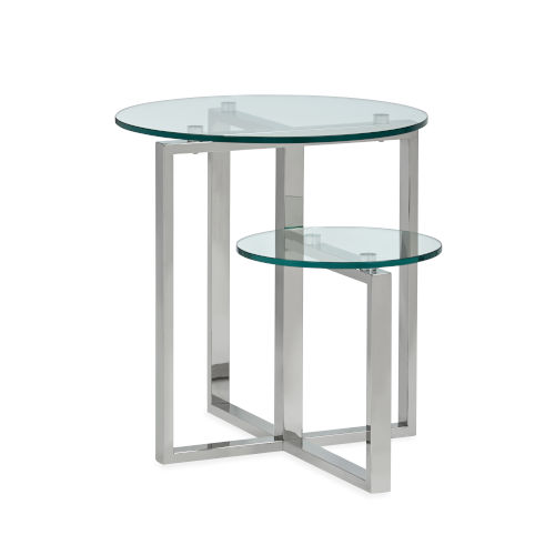 Medlock Stainless Steel and Tempered Clear Glass Shaped End Table