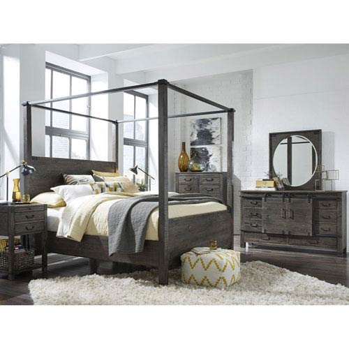 Abington Poster Bed in Weathered Charcoal - California King