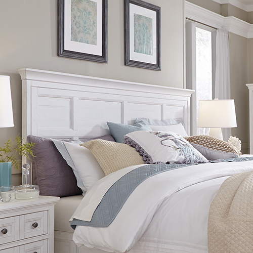 Heron Cove Relaxed Traditional Soft White King Panel Bed Headboard