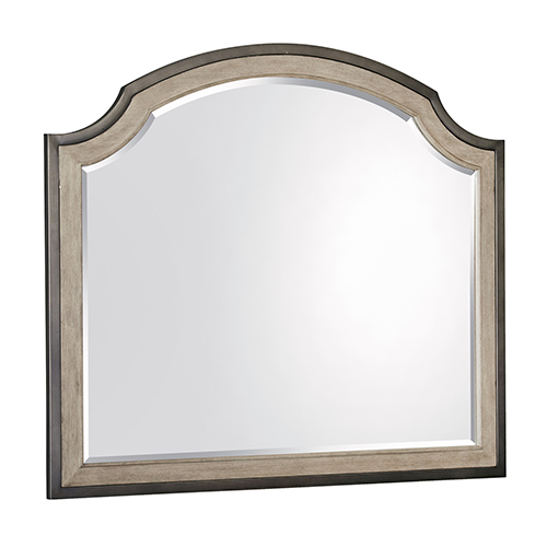 Leyton Park Transitional Shaped Mirror in Weathered Sand