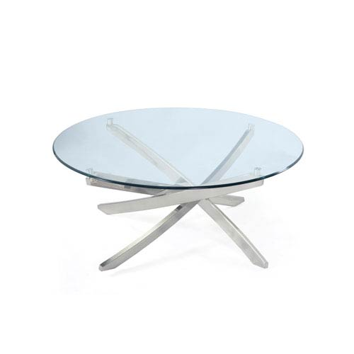 Magnussen Home Zila Brushed Nickel Round Cocktail Table