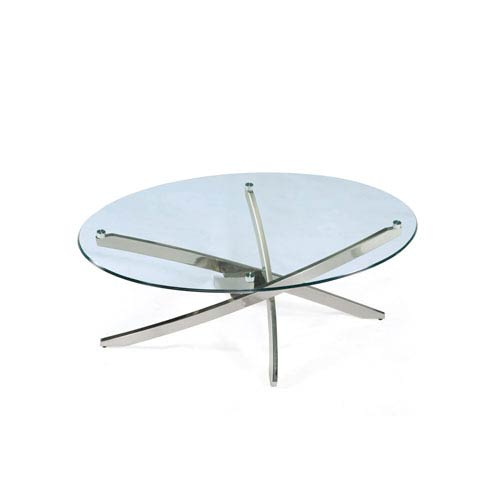 Magnussen Home Zila Brushed Nickel Oval Cocktail Table