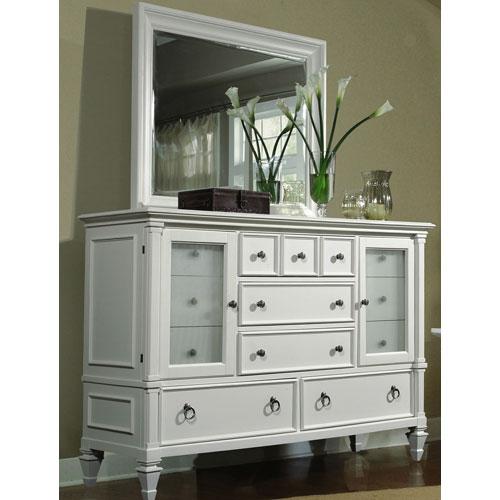 Ashby Patina White 12 Drawer Dresser w/ Landscape Mirror