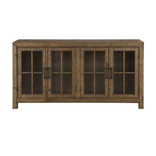 Magnussen Home Willoughby Buffet Curio Cabinet in Weathered Barley