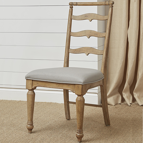 Graham Hills Dining Side Chair with Upholstered Seat in Cracked Wheat
