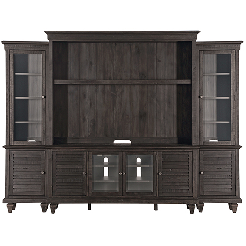 Magnussen Home Calistoga Rustic Weathered Charcoal Entertainment Wall