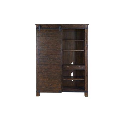 Pine Hill Sliding Door Bookcase in Rustic Pine