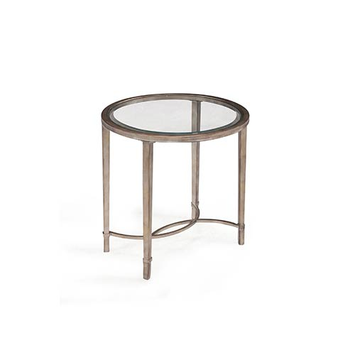 Copia Antique Silver and Metal Oval End Table