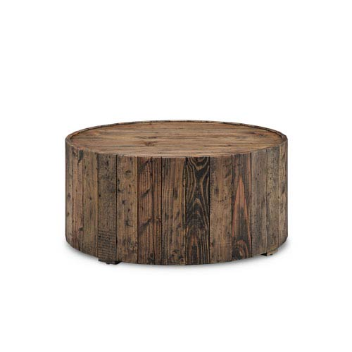 Dakota Round Cocktail Table with Casters in Rustic Pine
