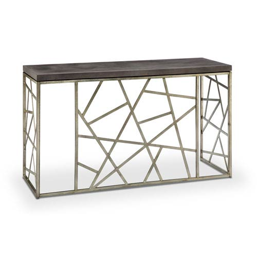 Magnussen Home Tribeca Rectangular Sofa Table in Distressed Silver and Smoke Grey